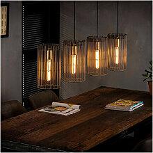 Supension 4 lampes avec abat-jour cylindriques