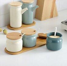 Support à épices en céramique, salière et