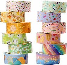 SUQ 12 Rouleaux Glitter Washi Tape Set, Foil Gold