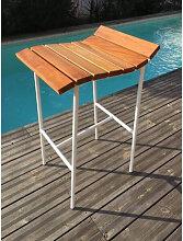 SURF - Tabouret de bar en bois et acier blanc