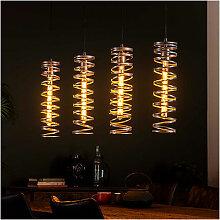 Suspension 4 lampes avec abat-jour spirale longue