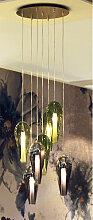 Suspension Alegria verres vert olive/brun 7 lampes
