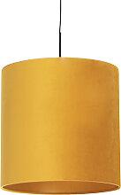 Suspension avec abat-jour en velours jaune avec