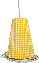 Suspension baladeuse vichy jaune/cordon textile