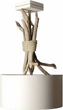 Suspension bois flotté abat-jour blanc