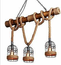 Suspension Corde De Chanvre Rustique Luminaire En