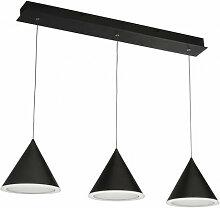 Suspension de barre led conique 3 ampoules - noir