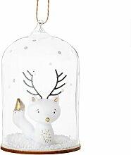 Suspension de Noël cloche animal blanc