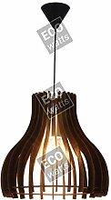 Suspension E27 Max.40W Bois foncé cable PVC
