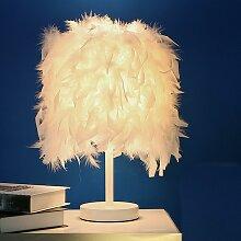 Suspension en Plume Blanche Lampe De Table E27
