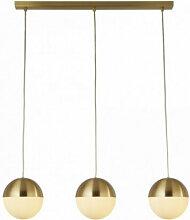 Suspension endor 3 ampoules, laiton satiné avec