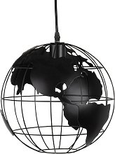 Suspension globe terrestre en métal noir ajouré
