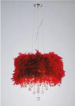 Suspension Ibis avec Abat jour rouge en plume 3