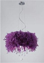 Suspension Ibis avec Abat jour violet en plume 3