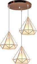 Suspension industrielle Cage forme Diamant, Lampe