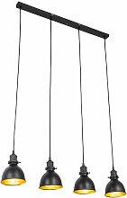 Suspension industrielle noire à 4 lumières