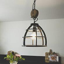 Suspension industrielle ronde en acier noir 34 cm