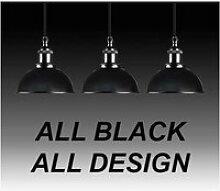 Suspension ip44 alu e27 abat-jour noir / all black