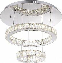 Suspension LED cristal pendule anneau design