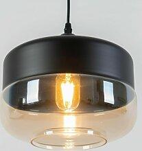 Suspension Luminaire Métal et Verre - Amber - Noir