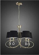 Suspension Mara 5 Ampoules E14, doré avec Abat