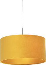 Suspension noire avec abat-jour en velours jaune