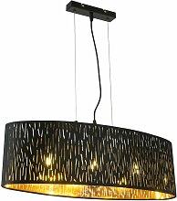 Suspension noire ovale or plafonnier pendule lampe