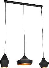 Suspension scandinave noire à 3 lumières dorées