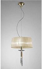 Suspension Tiffany 3+1 Ampoule E27+G9, doré avec