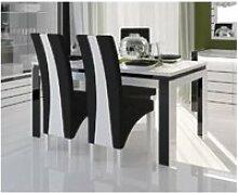 Table 160 cm + 4 chaises lina. Table pour salle à