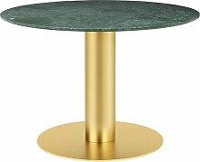 Table 2.0 de Gubi, base laiton, Ø110 cm, Marbre
