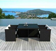 Table & 4 Fauteuils De Jardin rocha 115cm Noir &