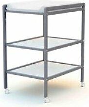 Table à langer 2 étagères en bois gris 50x70