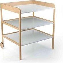 Table à langer bébé en bois hêtre 2 étagères
