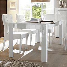 Table à manger blanc laqué brillant design OKLAND