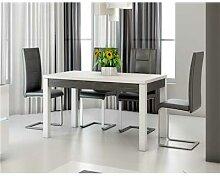 Table à manger blanc laqué et ardoise design