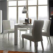 Table à manger blanc laqué mat design KANSAS