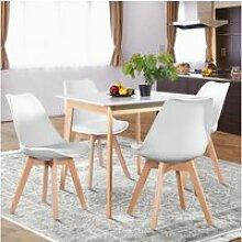 Table à manger carrée scandinave blanche bois