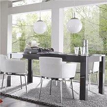 Table à manger design gris laqué brillant ARTIC 2