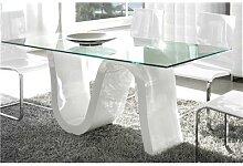 Table à manger en verre et laqué blanc design