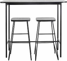 Table à manger haute et tabourets (x2) noir mat 2