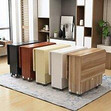 Table à manger pliante et mobile en bois massif,