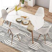 Table à manger rectangulaire en marbre et bois