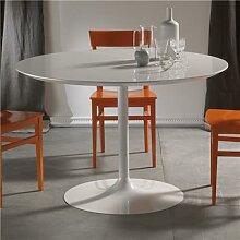 Table à manger ronde blanche design EMILIO