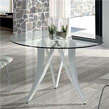 Table à manger ronde design en verre et métal