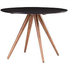 Table à manger ronde design noyer et noir D106 cm