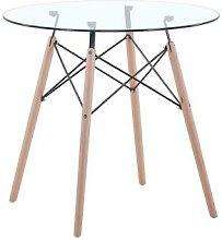Table à manger ronde en verre trempé