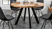 Table à manger ronde industriel bois 120 cm -