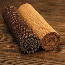 Table à thé en bambou naturel brun café/bambou