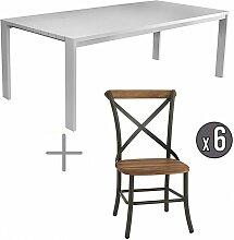 Table avec chaises aluminium et teck 6 personnes